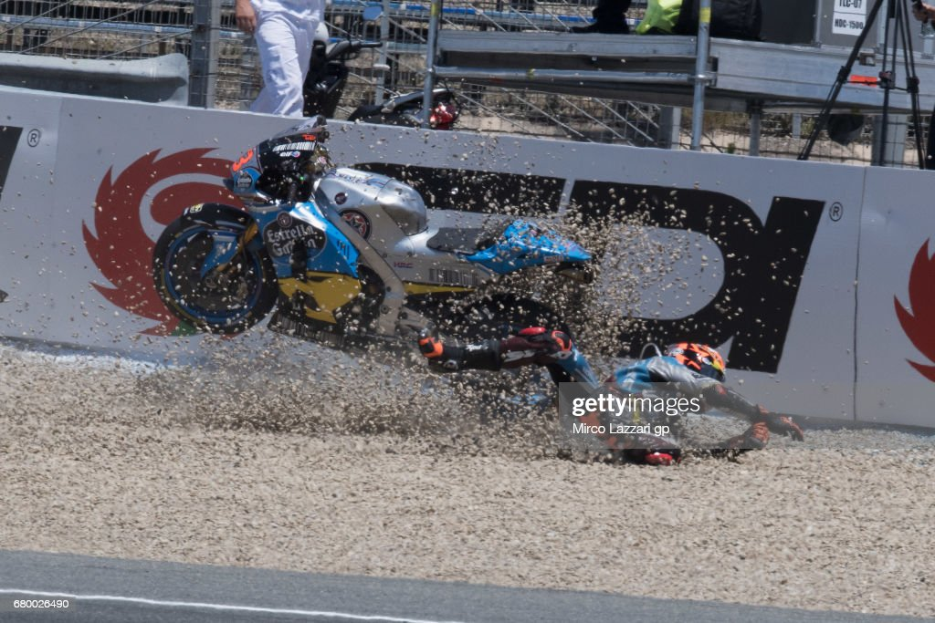 Esteve Rabat of Spain and Team EG 0,0 Marc VDS crashed out during the MotoGP race during the MotoGp of Spain - Race at Circuito de Jerez on May 7, 2017 in Jerez de la Frontera, Spain.