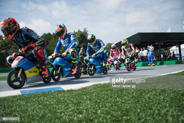 Esteve Rabat of Spain and Team EG 00 Marc VDS leads the field and rides the minibike during the preevent 'The minibattle between the MotoGP riders...
