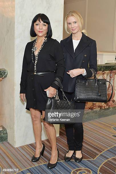 Esthella Provas and Celesta Hodge attend MOCA's 9th Awards To Distinguished Women In The Arts at Regent Beverly Wilshire Hotel on October 28 2015 in...