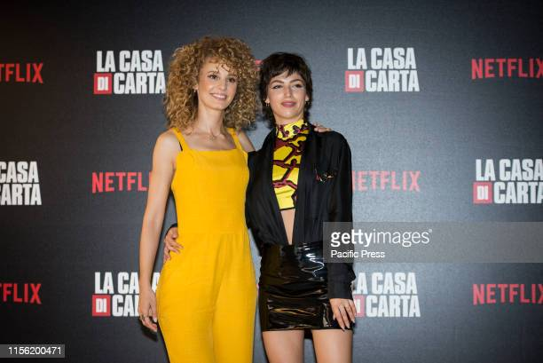 Esther Acebo and Ursula Corbero attend the photocall of the Netflix tv show La Casa di Carta at Cinema Anteo