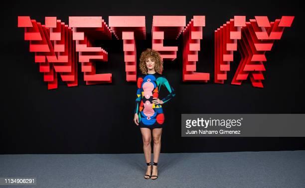 Esther Acebo attends the red carpet during the Netflix presentation party at the Invernadero del Palacio de Cristal de la Arganzuela on April 4 2019...