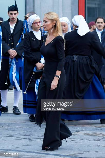 Esther Alcocer Koplowitz arrives to the 2018 Princess of Asturias Awards Ceremony at the Campoamor Teather on October 19 2018 in Oviedo Spain