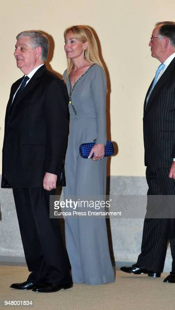 Esther Alcocer Koplowitz attends the reception offered by Portugal president Marcelo Rebelo de Sousa to King Felipe of Spain and Queen Letizia of...