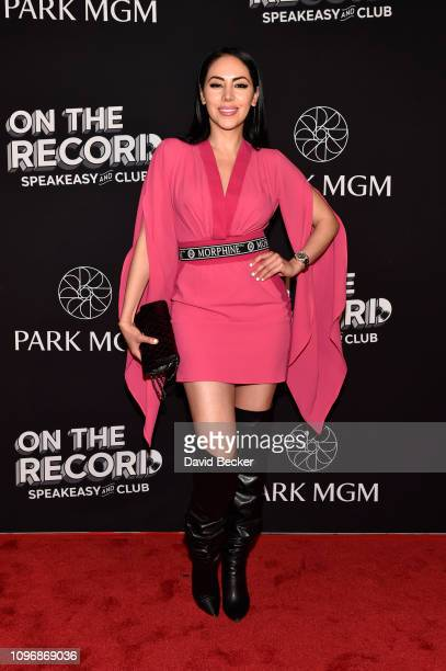 Esther Anaya arrives at the grand opening celebration at On The Record Speakeasy and Club at Park MGM on January 19 2019 in Las Vegas Nevada