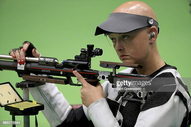 Esther Barrugues Alvina of Andorra shoots during a practice session for the 10m Air Rifle discipline at the Olympic Shooting center on August 2 2016...