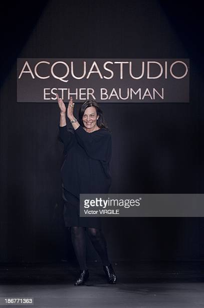 Esther Bauman walks the runway during Acquastudio show at the Sao Paulo Fashion Week Winter 2014 on October 29 2013 in Sao Paulo Brazil