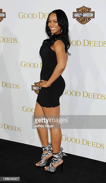 Esther Baxter arrives at Lionsgate's World Premiere of 'Good Deeds' at Regal Cinemas LA Live on February 14 2012 in Los Angeles California