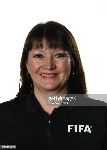 Esther Burkart poses for photographs during the FIFA Women's Referee Seminar on February 14 2018 in Doha Qatar