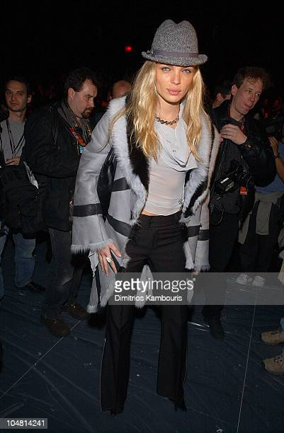Esther Canadas during Mercedes Benz Fashion Week Fall 2003 Collections Luca Luca Front Row at Bryant Park in New York City New York United States