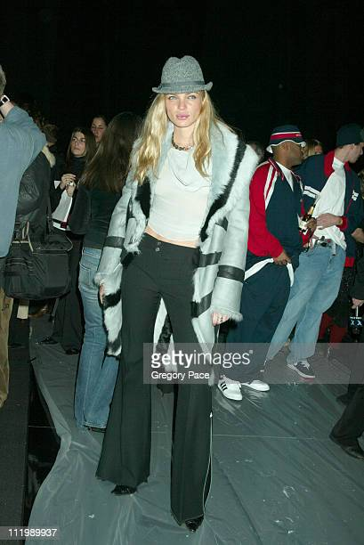 Esther Canadas wearing Luca Luca during Luca Luca Fall Winter 2003 Show at The Tent at Bryant Park in New York NY United States