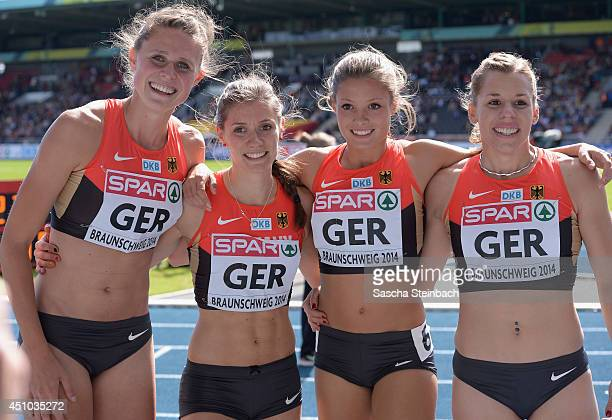 Esther Cremer Lena Schmidt Lara Hofmann and Ruth Sophia Spelmeyer of Germany pose after the Women's 4x400m Relay during second day of the European...