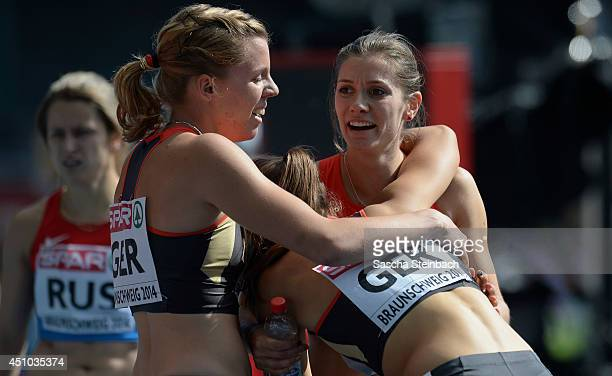 Esther Cremer Lena Schmidt Lara Hofmann and Ruth Sophia Spelmeyer of Germany celebrate after the Women's 4x400m Relay during second day of the...