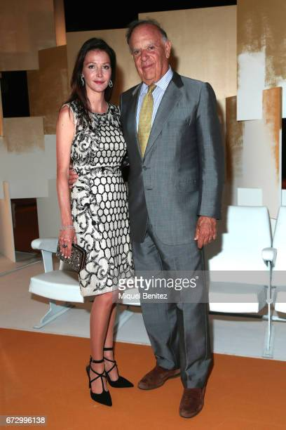 Esther Dona and Carlos Falco Marquis of Grinon pose during a photocall for the Rosa Clara Show during Barcelona Bridal Fashion Week 2017 on April 25...