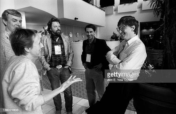 Esther Dyson from EDventure Holdings speaks with Bill Gates from Microsoft as John Perry Barlow from Electronic Frontier Foundation/Berkman Center...