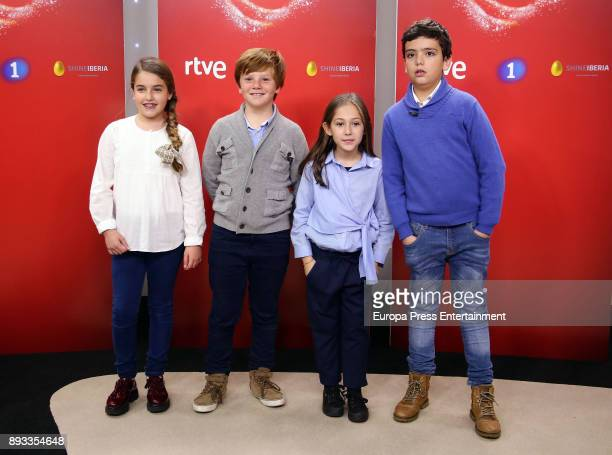 Esther Fernando Maria and Juan Antonio attend the presentation of a new seson of 'Masterchef Junior' at TVE studios on December 14 2017 in Madrid...