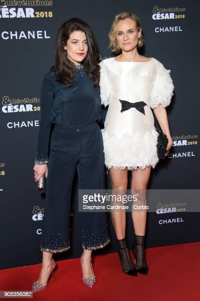 Esther Garrel and Diane Kruger attend the 'Cesar Revelations 2018' Party at Le Petit Palais on January 15 2018 in Paris France