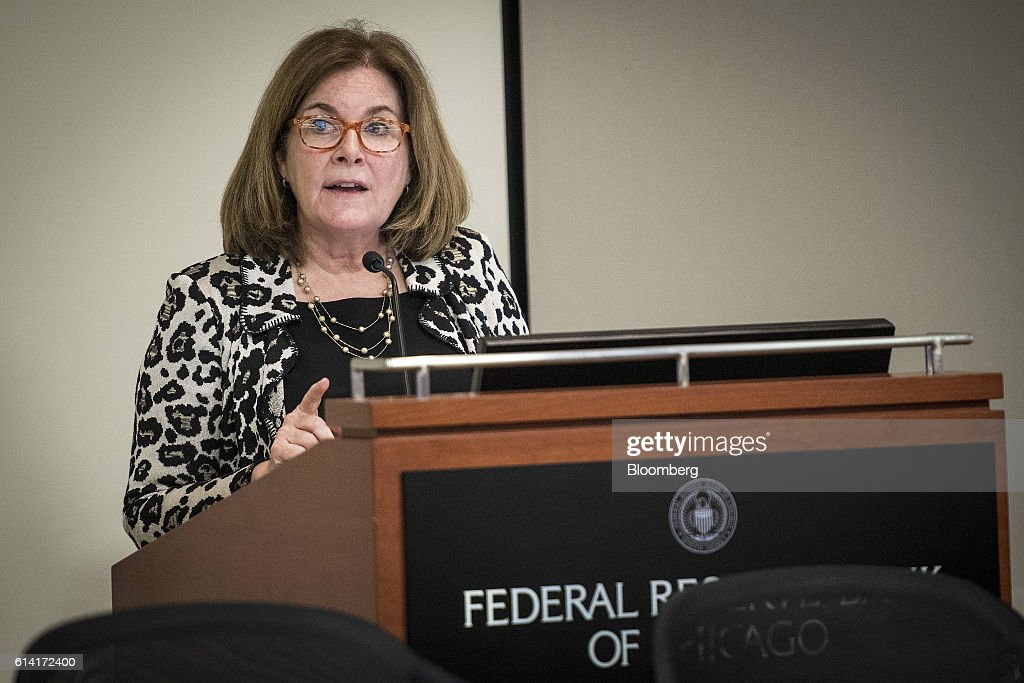 Esther George, president and chief executive officer of the Kansas City Federal Reserve Bank, speaks during the Federal Reserve Bank Of Chicago's Annual Payments Symposium in Chicago, Illinois, U.S., on Wednesday, Oct. 12, 2016. George said 'dynamic, persistent and escalating threats are challenging public confidence in the U.S. payment system.' Photographer: Christopher Dilts/Bloomberg via Getty Images