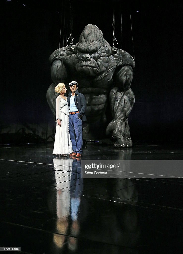 Esther Hannaford who plays Ann Darrow and Chris Ryan who plays Jack Driscoll pose with King Kong on stage during a 'King Kong' production media call at the Regent Theatre on June 14, 2013 in Melbourne, Australia. Based on the novel of the original 1933 screenplay and five years in the making, the new music theatre event King Kong will have its workd premiere on June 15th.