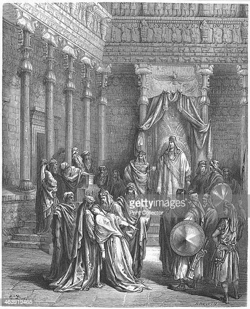 Esther in the presence of Ahasuerus 1866 Esther coming into the presence of King Ahasuerus fainting in fear as she expects to die if it is discovered...