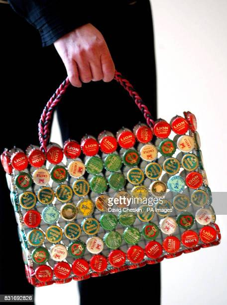 Esther Lynn from the Museum of Scotland with a bottle top bag Edinburgh Thursday March 30 2006 The bag is part of the museum's Green Design...