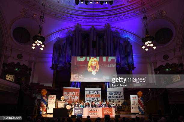 Esther McVey speaks as Richard Tice MP Kate Hoey Sir Rocco Forte MP Ian Duncan Smith Tim Martin and Nigel Fagage look on during the Brexit Let's go...