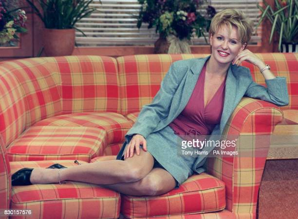 Esther McVey tries out the GMTV couch at the breakfast station as she prepares to take over from presenter Fiona Phillips who is taking maternity...