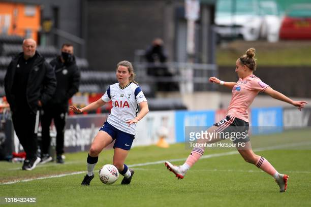 Esther Morgan of Tottenham Hotspur and Naomi Hartley of Sheffield United during the Vitality Women's FA Cup 5th Round match between Tottenham Hotspur...