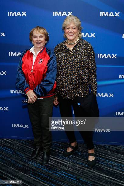 Esther Newberg and author Lynn Sherr attend the IMAX private screening for the movie First Man at the IMAX AMC Theater on October 10 2018 in New York...