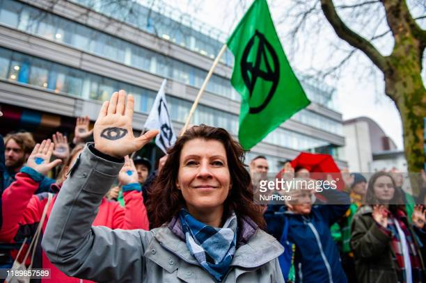 Esther Ouwehand leader of the political party Partij voor de Dieren during a demonstration in support of the Urgenda case that took place in front of...