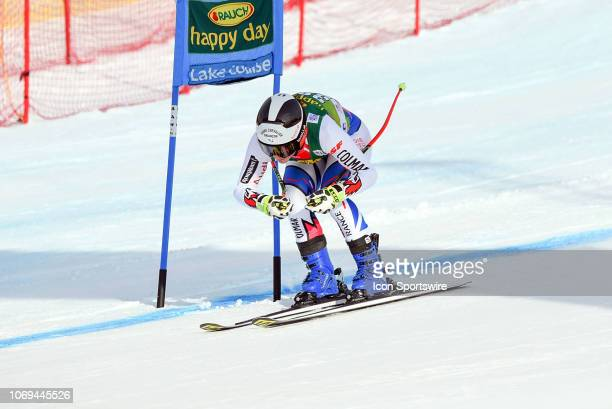 Esther Paslier of France goes past the final gate during the Ladies' Super G event at the Lake Louise Audi FIS Ski World Cup on December 2 at the...