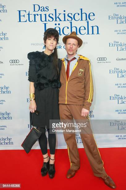 Esther Perbandt and partner Alexander Scheer attend the 'Das Etruskische Laecheln' Premiere at Zoo Palast on April 10 2018 in Berlin Germany