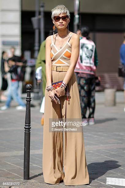 Esther Quek is seen after the Paul Smith show during Paris Fashion Week Menswear Spring/Summer 2017 on June 25 2016 in Paris France