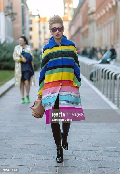 Esther Quek outside Missoni during Milan Men's Fashion Week Fall/Winter 2016/17 on January 17 in Milan Italy