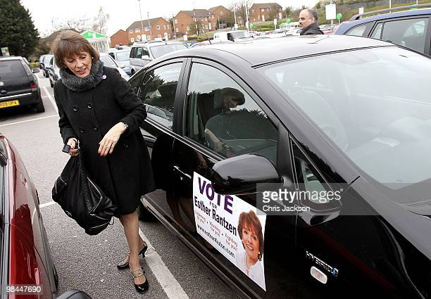 Esther Rantzen locks her Toyota Prius as she campaigns as an independant candidate for Luton South on April 14 2010 in Luton England Esther Rantzen...