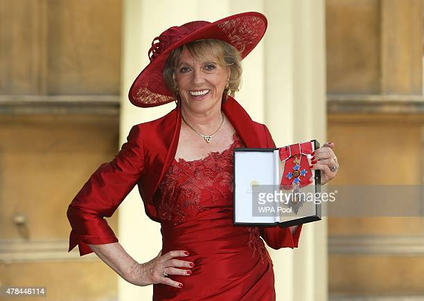 Esther Rantzen poses after she was made a Dame by the Princess Royal at an investiture ceremony at Buckingham Palace on June 25 2015 in London England