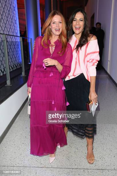 Esther Schweins and Bettina Zimmermann during the Marc Cain Fashion Show Autumn/Winter 2019 at Deutsche Telekom's representative office on January...