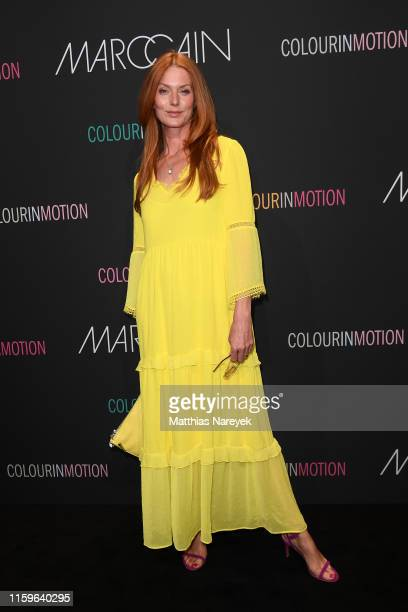 Esther Schweins at the Marc Cain fashion show during the Berlin Fashion Week Spring/Summer 2020 at Velodrom on July 02, 2019 in Berlin, Germany.