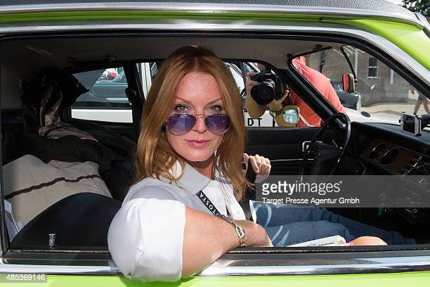 Esther Schweins attends the HamburgBerlin Klassik Ralleye 2015 at Olympiastadion on August 27 2015 in Berlin Germany