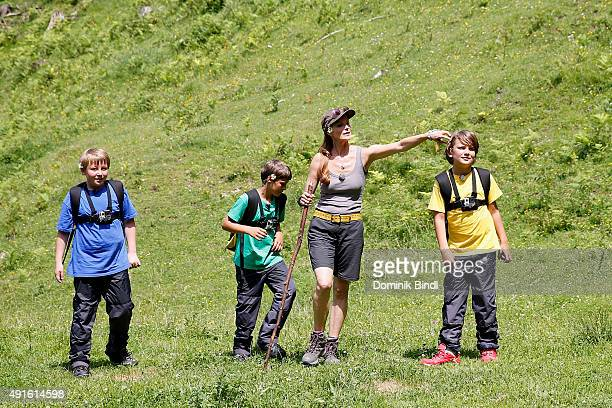 Esther Schweins with kids during the filming of the Cartoon Network series Spurensuche on July 06 2015 in Bayrischzell Germany