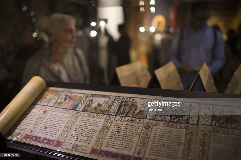 A Esther scroll from the year of 1615, made in Ferrara, Italy is displayed at the 'Book of Books' exhibition in the Bible Lands Museum on October 23, 2013 in Jerusalem, Israel. The exhibition contains more than 200 of the rarest biblical manuscripts, including original fragments from the Septuagint and the earliest New Testament Scriptures. This exhibition opened in Israel before heading to the Vatican and ends in Washington D.C, where it will be permanently displayed.
