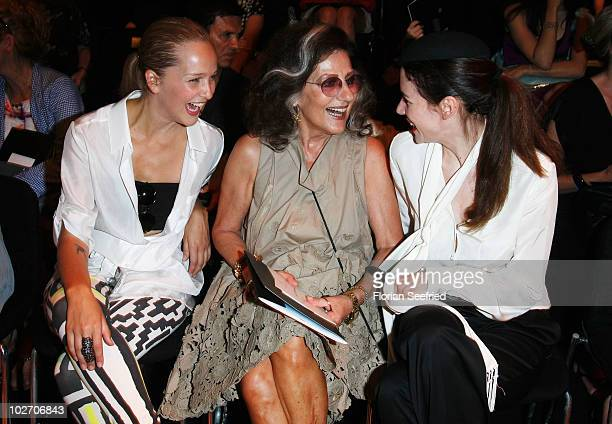Esther Seibt Angelica Blechschmidt and Julia Malik pose in front row at the Rena Lange Show during the Mercedes Benz Fashion Week Spring/Summer 2011...