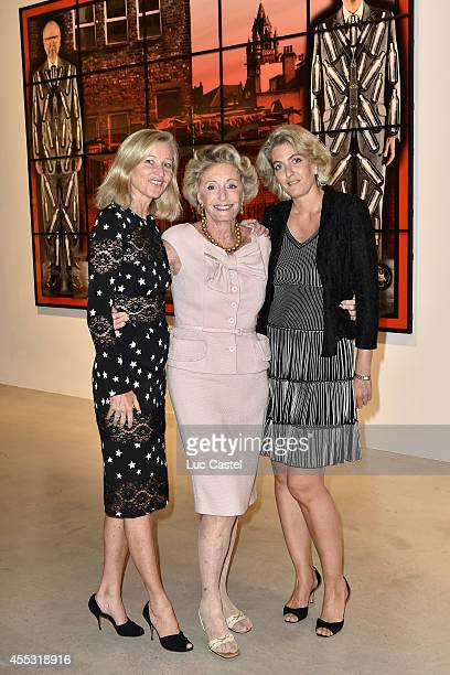 Esther Velo Ariane Dandois and Ondine de Rothschild attend the 'Gilbert George' Press Preview at Galerie Thaddaeus Ropac in Patin on September 12...