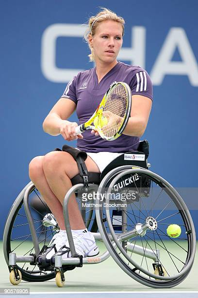 Esther Vergeer of the Netherlands competes in the wheelchair women's singles quarterfinals during day eleven of the 2009 US Open at the USTA Billie...