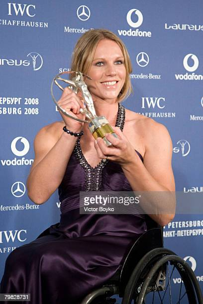 ST PETERSBURG RUSSIA FEBRUARY 18 Esther Vergeer with the trophy after winning the Laureus World Sportsperson of the Year with a Disability at the...
