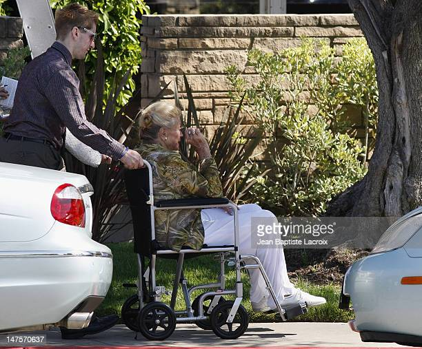 Esther Williams attends Cyd Charisse's Funeral Service at Hillside Memorial Park on June 22 2008 in Culver City California