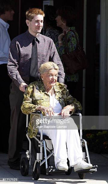 Esther Williams attends Cyd Charisse's Funeral Service at Hillside Memorial Park on June 22 2008 in Culver CityCalifornia