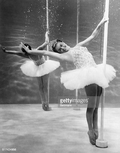 Esther Williams is shown in the underwater ballet scene from the movie based on Annette Kellerman's life in this photograph