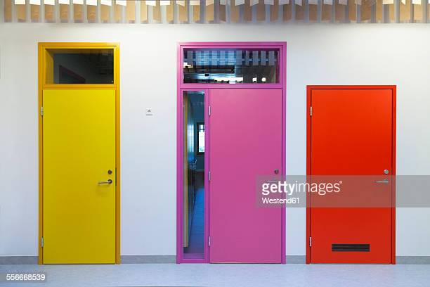 Estonia, coloured doors of a newly built kindergarten