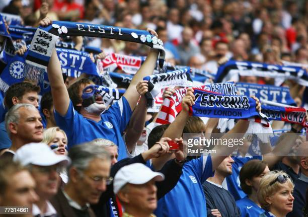 Estonia fans welcome their team onto the pitch ahead of the Euro 2008 Group E qualifying match between England and Estonia at Wembley Stadium on...