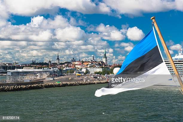 estland blasen in wind-flagge - tallinn stock-fotos und bilder